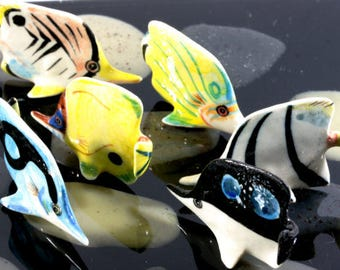 Fish, one swarm - handpainted porcelain figurine  --  4699