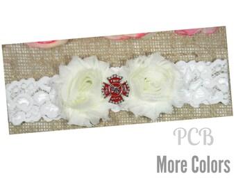 Firefighter Wedding Garter, Fireman Garter, Fire Dept. Garter, Red & Ivory Shabby Chiffon Flower Garter, Lace Bridal Garter and Toss Garter