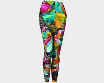 Pájaros Tropicales Leggings XS-S-M-L-XL Tropical Birds Nature Yellow Blue Orange Pink Wearable Art Clothes Women Teen Pants Clothing Fashion