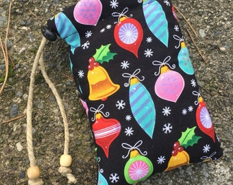 Colorful Christmas Bells Padded Pipe Pouch. Pipe Bag. Handmade in USA by FlabbaGlass Designs