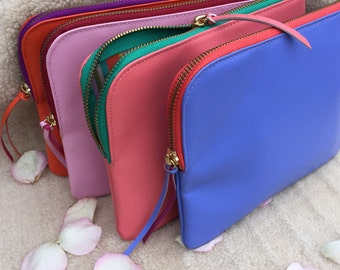 Personalised Ladies Leather And Silk Lined Make Up Bag