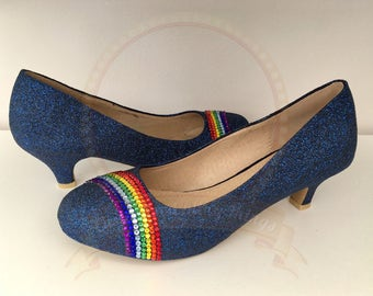 Navy Blue Crystal Rainbow Kitten Heels - Bridal - Wedding Shoes - Bridesmaid - Prom - Party - Customised Shoes - UK Size3-8