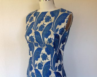 1960s Floral brocade party dress
