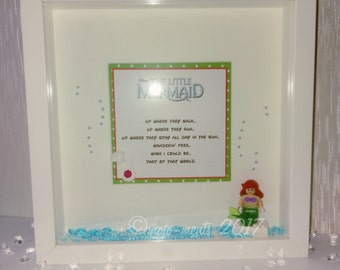 The Little Mermaid Lego Minifigure Wooden Box Frame