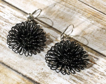 Fun Handmade  Black Enameled Wire Pom Pom Leverback Earrings with Bows, 1.25 inch Diameter