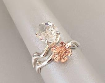 Flower and raw Herkimer Diamond Ring / Sakura Ring / Cherry blossom ring /Raw crystal quartz  Ring / Raw gemstone Ring/ Rose gold ring
