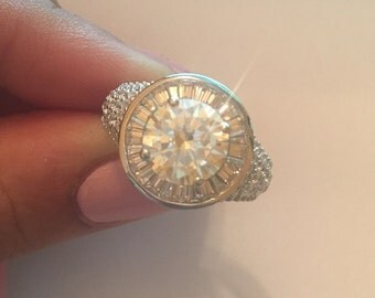 Stunning Sterling Silver Fancy Yellow CZ Ring