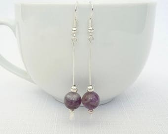 Amethyst Gemstone Purple Bead Earrings - Gemstone Bead Earrings - Purple Amethyst Bead Drop Earrings - Silver Paddle Headpins - Gift for Her