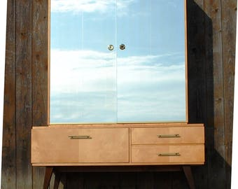 """Oak bench and mirror """"Beauty Salon"""" 60ties Frisier chest of drawers"""