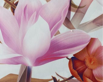 Floral Upholstery Fabric, Furnishing Fabric, Flowers Print Durable Fabric, Non-fade Drapery Fabric, Purple Orange, 1/2 Yard/Metre, DB-307