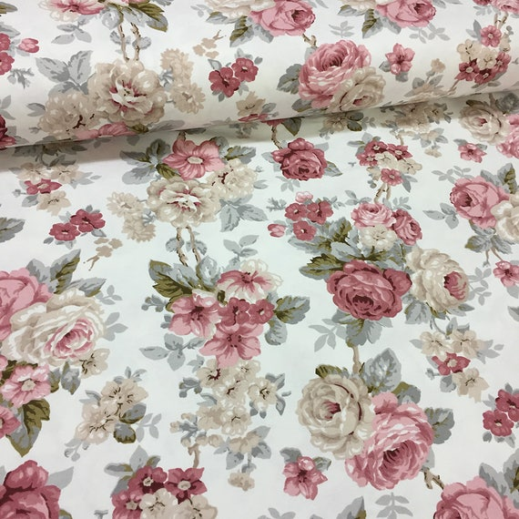 Floral Canvas Duck Fabric Shabby Chic Roses Home Decor Curtain Upholstery Antique Pink Beige 1 2 Yard Metre Fat Quarter FGHLMR45 D From