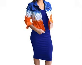 Orange + Blue/Navy Tie-Dye Jacket