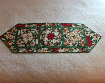 114 Christmas Poinsettia with Ribbon Table Runner