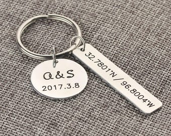 Personalized GPS Coordinate Bar Keychain - Disc With Initials Name  And Anniversary Date -  Wedding vow keychain, Valentine's Day Gift