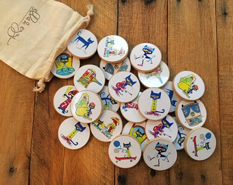 Pete the Cat Wooden Disc memory matching game, toddler gift, wooden toys, Montessori, Wooden Toy, Educational Toy, Pete the Cat Christmas