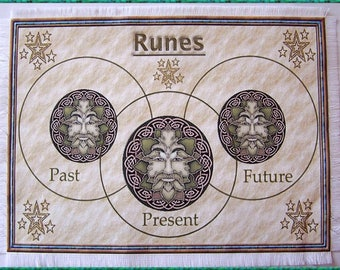 Green Man Rune Casting Mat, Dowsing wiccan Magic Divination, Stones, gift