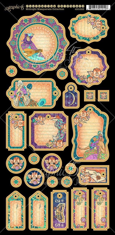 NEW! Graphic 45 Midnight Masquerade Journaling Chipboard, SC007717