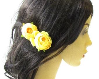 2 x Yellow Ranunculus Flower Hair Grips Clips Bobby Pins Slides Rosebud 1780