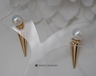Spike Drop Earrings, White Pearl & Spike Dangle Earrings, Sterling Silver Post
