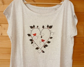 """Collection """"Love's Day"""" women's t-shirt in organic cotton print """"Love Birds"""""""
