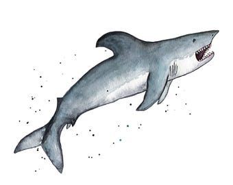 Watercolor Shark Print