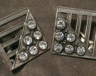 Large gunmetal rhinestones Earrings silvertone Chunky Sparkly geometric crystals clip-on square  jewelry fashion modernist unusual