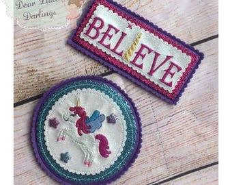 Unicorn Badge Set, Felt Pin Backed Badges, Unicorn, Believe, Pin Backed Brooch