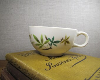 Vintage Coffee Cup - Green, Teal and Yellow Leaves