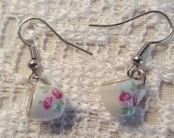 Mini Porcelain Tea Cup Earrings, Tea Cup Earrings, Shabby Chic PorcelainTea Cup Earrings, Shabby Chic Earrings, Tea Cup Dangle Earrings