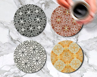Coaster Set of 4 Round Glass Moroccan Coasters Kitchen Decor Housewarming Gift Idea Cafe Accessories Bar Drink Coasters Mom Gift Birthday
