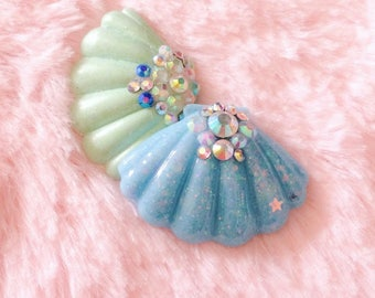 Pastel Mermaid Handmade Resin Shell Pendant Necklace. Magical Girl Kawaii Jewellery. Cute Necklace. Nautical. Bling Jewelry