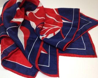 """Navy Red Silk Scarf, Vintage Silk Scarf, Red White Blue Silk Scarf, Vintage Red White Scarf, Navy Red White Silk Scarf, 27"""" Square Scarf"""