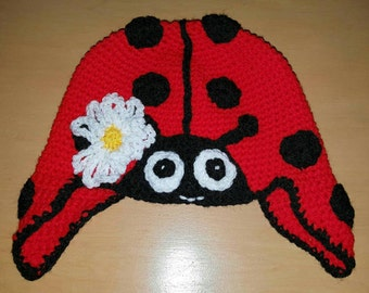 Ladybird hat. Ladybug hat. Crochet hat. Child's hat. Beanie.  Crochet ladybird beanie. Crochet ladybird hat. Crochet beanie. Novelty hat.
