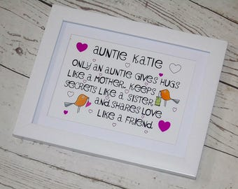 Personalised Auntie framed print - Auntie gift - life quote - auntie birthday - someone special - personalised gift - Aunty -