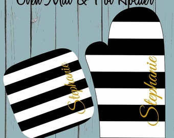 Monogrammed Oven Mitt or Pot Holder Personalized Oven Mitts Holiday Gift, Kitchen, Cookware,Monogrammed Pot Holder