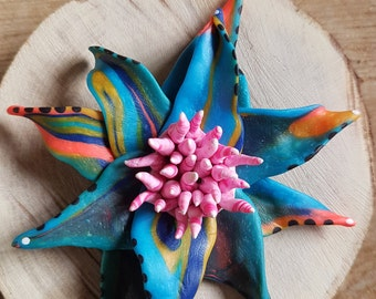 Handmade Polymer clay multicoloured flower fridge magnet