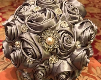 Bridal Bouquet in Silver Satin