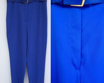 Vintage 90s Blue Trousers, High Waisted Trousers, Royal Blue Trousers, Hipster Trousers, Retro Trousers, Size 14 16