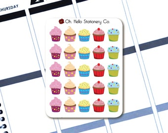 25 Colorful Cupcake Stickers  - Planner Stickers for Erin Condren Life Planners - B7