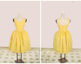 "Elizabeth Dress ""Lemonade Stand"" in Yellow Checkered Gingham Print"