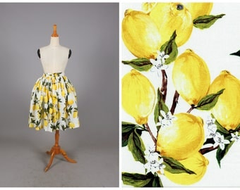 "Lola Skirt ""Freshly Squeezed"" Retro Lemon Fruit Print Yellow Lemons"