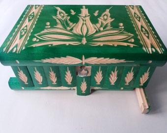 New big,huge green wooden puzzle box,secret box,magic box,jewelry storage box,wooden case, fun gift for kids girls boys  Valentine gift boys
