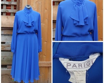 Vintage 1980's Blue PARIGI 100% Polyester Working Woman / Office / Secretary / Party Dress