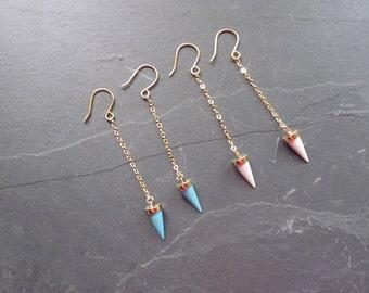 Turquoise Earrings, Gold Earrings, Modern Turquoise Jewelry, Boho earrings, Blue earrings, Dangle Earring, Arrow head earrings, Boho jewelry