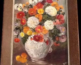 Vintage Framed OIL PAINTING Signed M. DIX Floral Chrysanthemum Still Life Retro Flowers