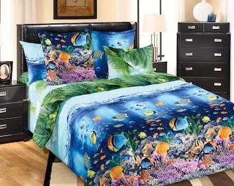 Ocean Sea Fish Underwater World 3D bedding Single Twin Full Double Queen bedding set Duvet cover Pillowcases Shams set gift for him for her