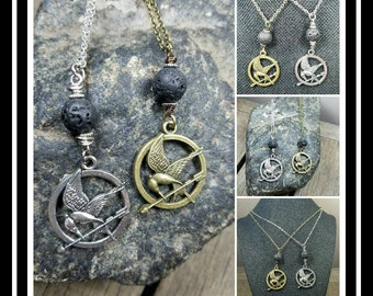 Mocking Jay Hunger Games Essential-Oil Lava Stone Diffusing Necklace/ EO Diffuser Necklace/ Aromatherapy Necklace/ EO Necklace