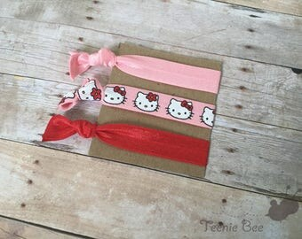 Hello Kitty Hair Ties - Hello Kitty Party - Hello Kitty Hair - Hello Kitty Birthday Party - Hello Kitty Party Favors - Hair Tie Set of 3