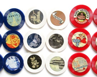 Lot Vintage Embellished Images Adhered to Red, White, and Blue Poker Chips
