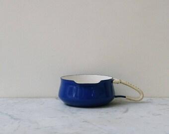 Vintage Dansk small Kobenstyle navy blue enamel butter warmer RARE